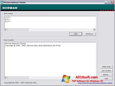 لقطة شاشة Norman Malware Cleaner لنظام التشغيل Windows 10