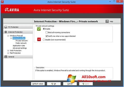 لقطة شاشة Avira Internet Security لنظام التشغيل Windows 10