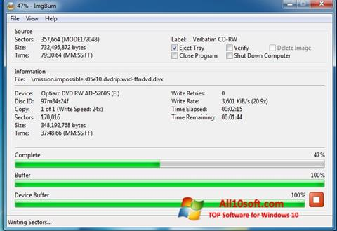 لقطة شاشة ImgBurn لنظام التشغيل Windows 10