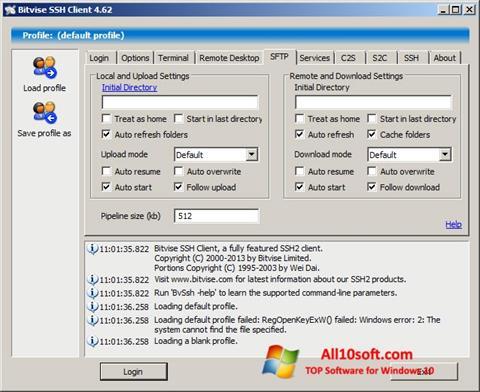 لقطة شاشة Bitvise SSH Client لنظام التشغيل Windows 10