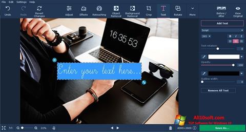 لقطة شاشة Movavi Photo Editor لنظام التشغيل Windows 10