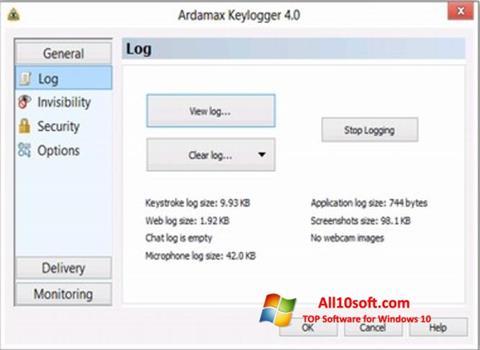 لقطة شاشة Ardamax Keylogger لنظام التشغيل Windows 10