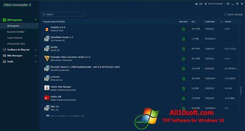 لقطة شاشة IObit Uninstaller لنظام التشغيل Windows 10