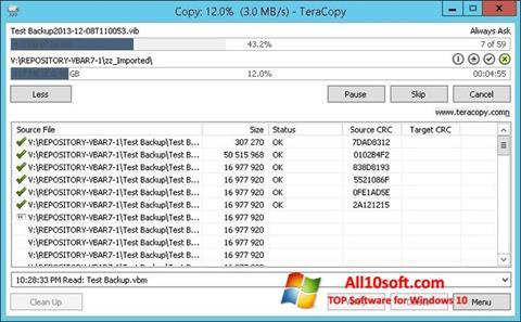لقطة شاشة TeraCopy لنظام التشغيل Windows 10