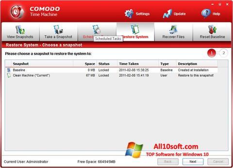 لقطة شاشة Comodo Time Machine لنظام التشغيل Windows 10