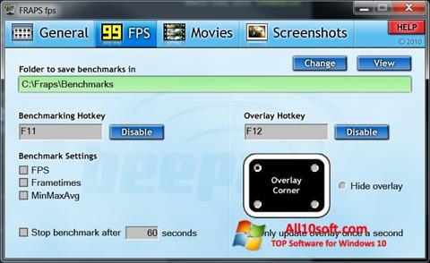 لقطة شاشة Fraps لنظام التشغيل Windows 10