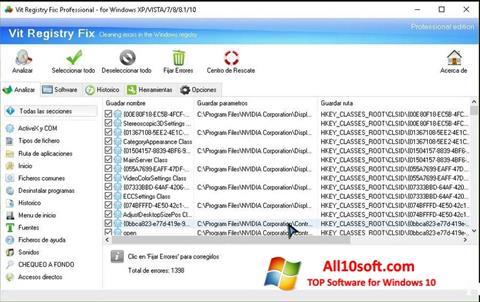 لقطة شاشة Vit Registry Fix لنظام التشغيل Windows 10