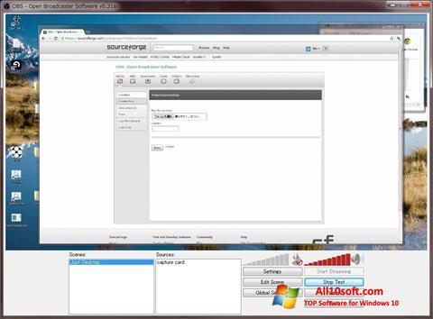 لقطة شاشة Open Broadcaster Software لنظام التشغيل Windows 10