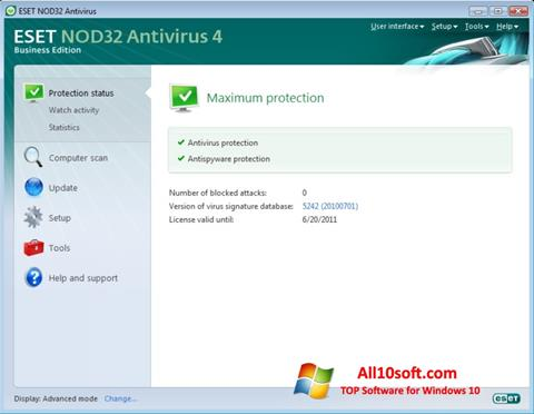 لقطة شاشة ESET NOD32 لنظام التشغيل Windows 10