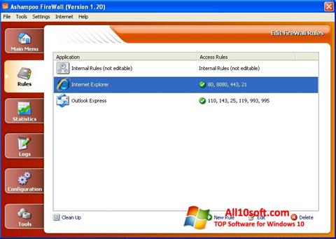 لقطة شاشة Ashampoo Firewall لنظام التشغيل Windows 10