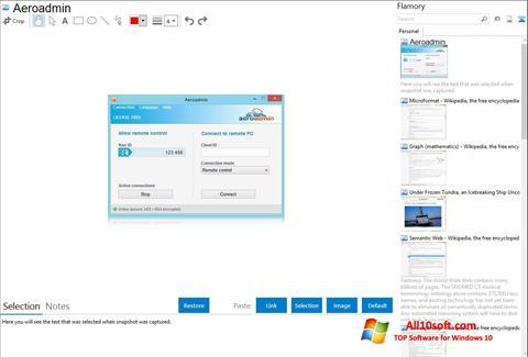 لقطة شاشة AeroAdmin لنظام التشغيل Windows 10