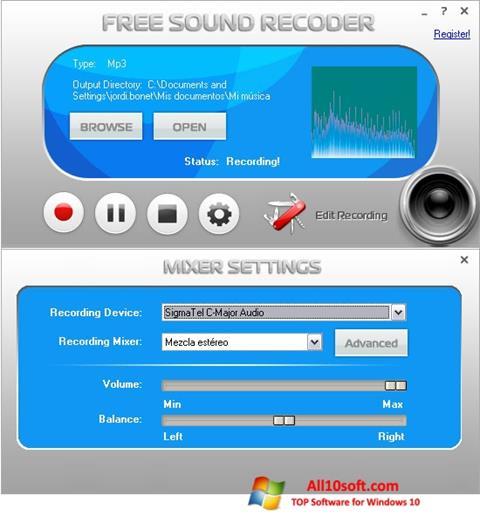 لقطة شاشة Free Sound Recorder لنظام التشغيل Windows 10