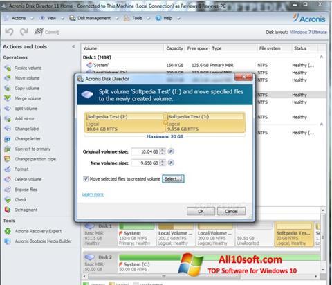لقطة شاشة Acronis Disk Director Suite لنظام التشغيل Windows 10