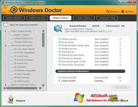 لقطة شاشة Windows Doctor لنظام التشغيل Windows 10