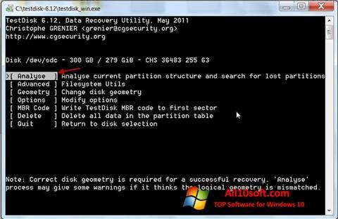 لقطة شاشة TestDisk لنظام التشغيل Windows 10