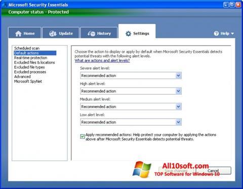 لقطة شاشة Microsoft Security Essentials لنظام التشغيل Windows 10