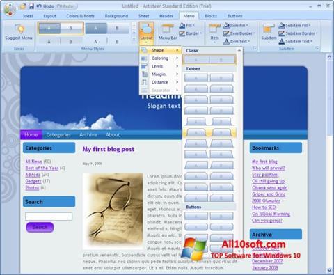 لقطة شاشة Artisteer لنظام التشغيل Windows 10