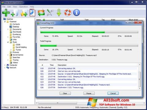لقطة شاشة Free Audio Converter لنظام التشغيل Windows 10