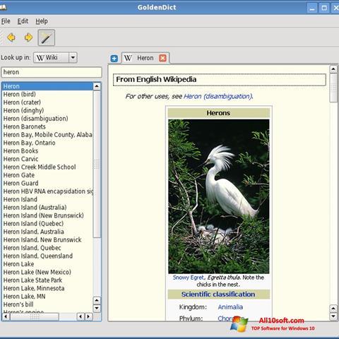 لقطة شاشة GoldenDict لنظام التشغيل Windows 10