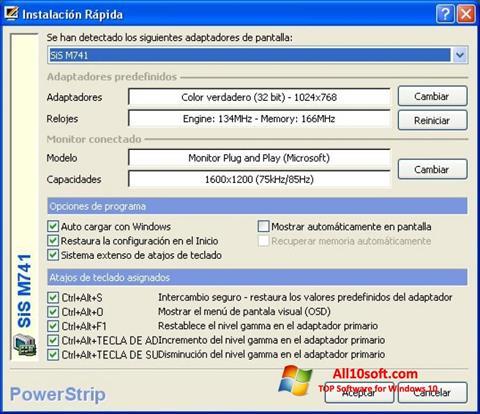 لقطة شاشة PowerStrip لنظام التشغيل Windows 10