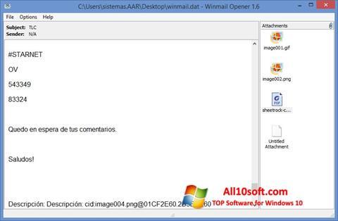 لقطة شاشة Winmail Opener لنظام التشغيل Windows 10