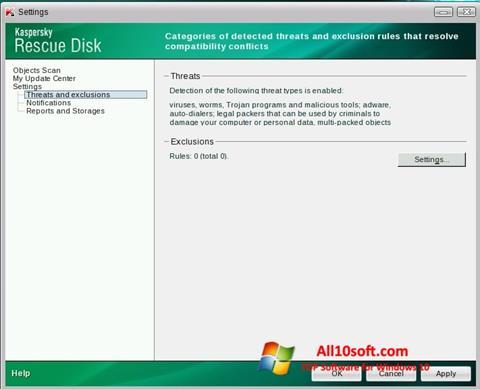لقطة شاشة Kaspersky Rescue Disk لنظام التشغيل Windows 10