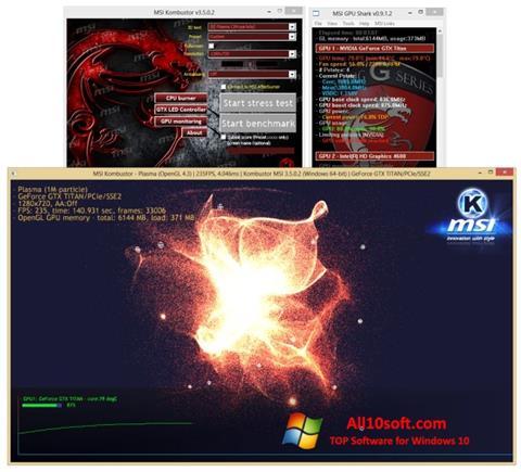 لقطة شاشة MSI Kombustor لنظام التشغيل Windows 10
