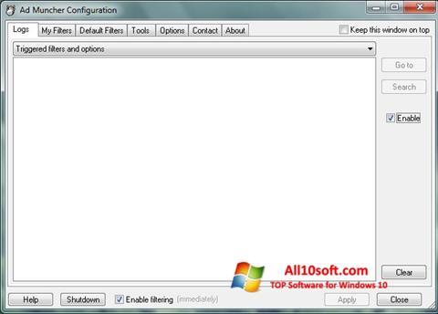 لقطة شاشة Ad Muncher لنظام التشغيل Windows 10