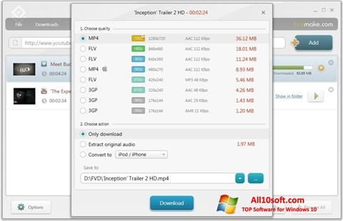 لقطة شاشة Freemake Video Downloader لنظام التشغيل Windows 10