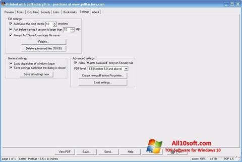 لقطة شاشة pdfFactory Pro لنظام التشغيل Windows 10