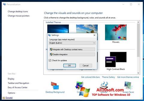 لقطة شاشة Personalization Panel لنظام التشغيل Windows 10