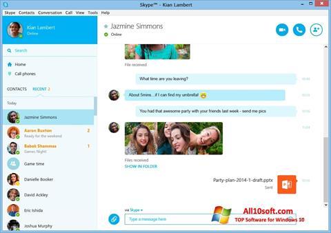 لقطة شاشة Skype لنظام التشغيل Windows 10