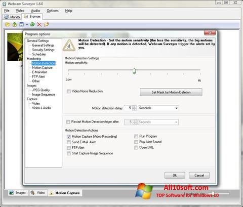 لقطة شاشة Webcam Surveyor لنظام التشغيل Windows 10
