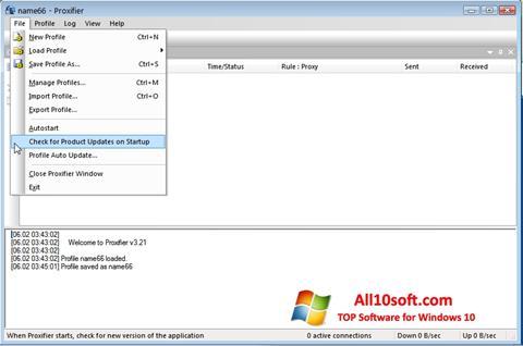 لقطة شاشة Proxifier لنظام التشغيل Windows 10