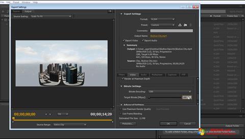 لقطة شاشة Adobe Media Encoder لنظام التشغيل Windows 10