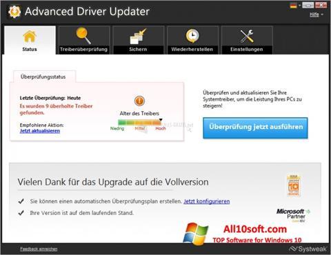 لقطة شاشة Advanced Driver Updater لنظام التشغيل Windows 10