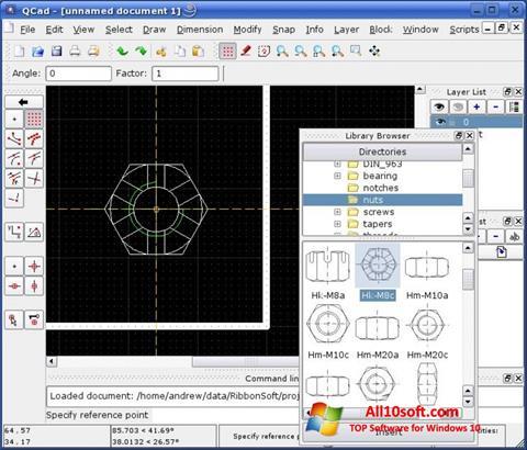 لقطة شاشة QCad لنظام التشغيل Windows 10