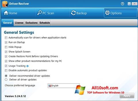 لقطة شاشة Driver Reviver لنظام التشغيل Windows 10