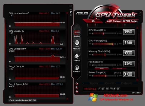 لقطة شاشة ASUS GPU Tweak لنظام التشغيل Windows 10