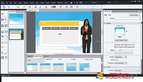 لقطة شاشة Adobe Captivate لنظام التشغيل Windows 10