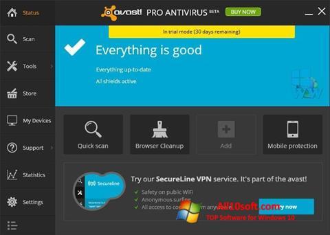 لقطة شاشة Avast! Pro Antivirus لنظام التشغيل Windows 10