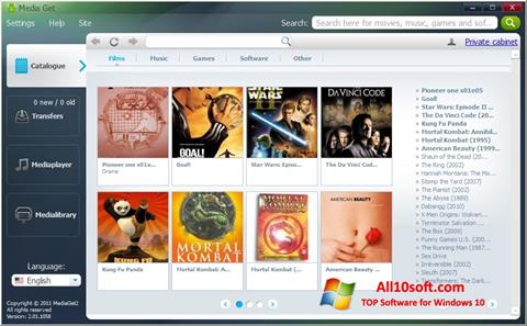 لقطة شاشة MediaGet لنظام التشغيل Windows 10