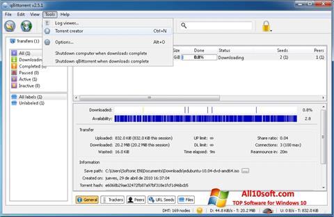 لقطة شاشة qBittorrent لنظام التشغيل Windows 10