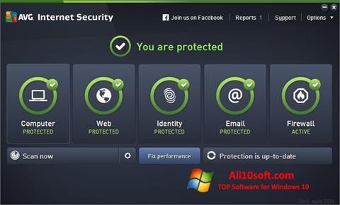 لقطة شاشة AVG Internet Security لنظام التشغيل Windows 10