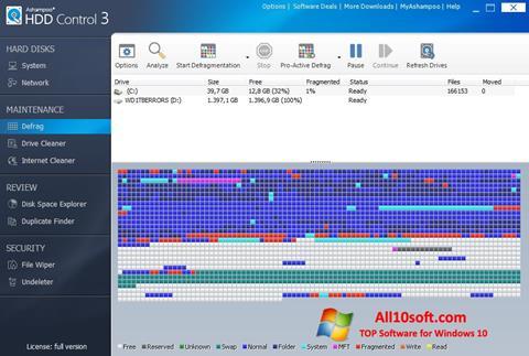 لقطة شاشة Ashampoo HDD Control لنظام التشغيل Windows 10