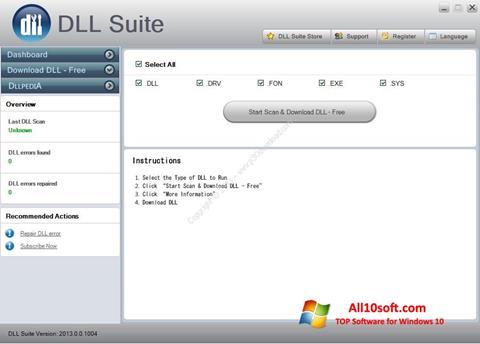 لقطة شاشة DLL Suite لنظام التشغيل Windows 10
