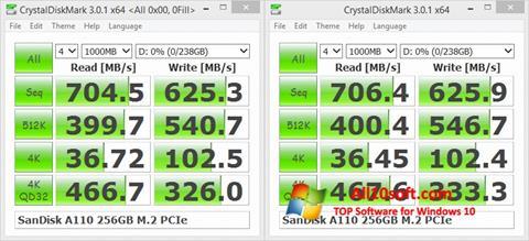 لقطة شاشة CrystalDiskMark لنظام التشغيل Windows 10