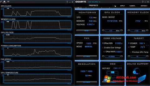 لقطة شاشة GIGABYTE OC Guru لنظام التشغيل Windows 10