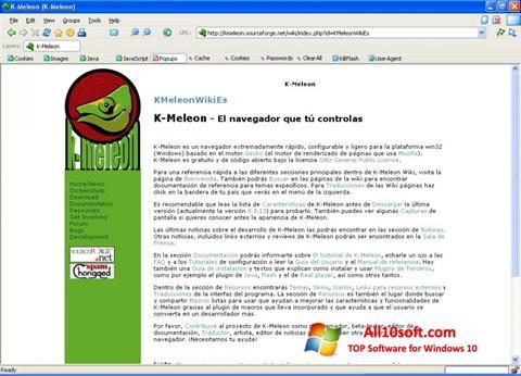 لقطة شاشة K-Meleon لنظام التشغيل Windows 10
