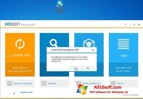 لقطة شاشة Emsisoft Emergency Kit لنظام التشغيل Windows 10